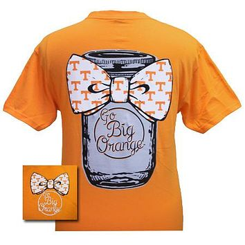 Tennessee Vols Volunteers Mason Jar Big Bow Big Orange Girlie Bright T Shirt