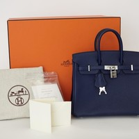 HERMES BIRKIN Mini 25 CM Bleu de Prusse Navy Epsom Leather Satchel Bag NEW BOX
