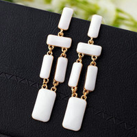 Fashion White Geometric Long Statement Dangle Earrings wholesale