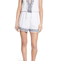 Trixxi Embroidered Woven Romper | Nordstrom