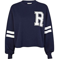 Navy R print stripe sleeve cropped sweatshirt - sweaters / hoodies - t shirts / tanks / sweats - women