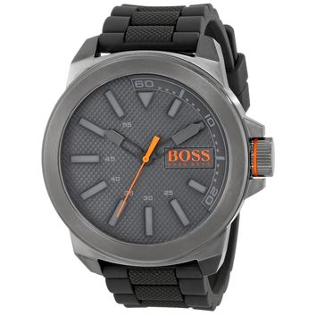 Hugo Boss 1513005 Men's Boss Orange New York Grey Dial Dark Grey Silicone Strap Watch