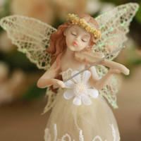 Fantasy Forest Flower Fairy Resin Figure/ Figurine with Violin, Angel Figure, Hand Painted, Home Decor/ Room Decor/ Table Top Decor
