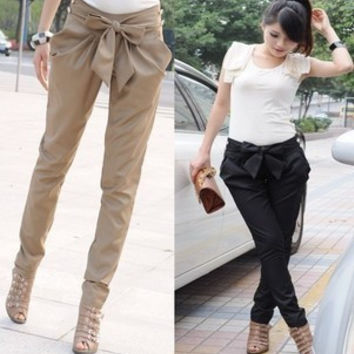 Bowknot Casual Pure Color Women Harem Pants