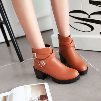 PU Round Toe Middle Block Heel Metal Buckle Back Zipper Ankle Boots