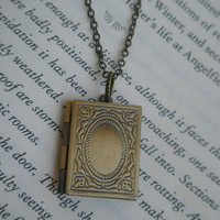 Locket necklace- Antique bronze locket- Antique bronze book locket- Graduation gift- Book locket-  Picture locket- Square locket