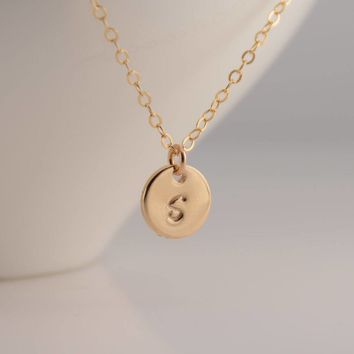 Tiny disc necklace. Tiny initial necklace. Gold disc necklace. Personalized small disc necklace. Small disc necklace