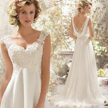 Simple Backless A Line Cheap Beach Wedding Dress 2016 Chiffon Bridal Sequin Beaded Lace Wedding Gown Under 100 Bride Dress