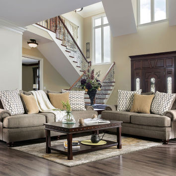 Furniture of america SM5164 2 pc Augustina light brown woven fabric sofa and love seat set