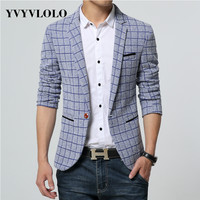 Casual Fashion Plaid Blazer Mens Cotton Single Button Blazers Jacket Slim Fit Jaqueta New Arrival Clothes Men Suits