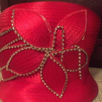 Pre Owned Women's Red Church Bucket Hat w/ Minor Imperfections
