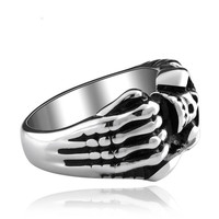 Hot sale fashion men jewelry silver punk rock skull skeleton hand rings 316L titanium stainless steel GMYR006 Alternative Measures