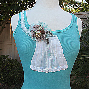 Women's Clothing / Hand Dyed Turquoise Shabby Chic Tank Top / Upcycled Romantic Gypsy Clothing