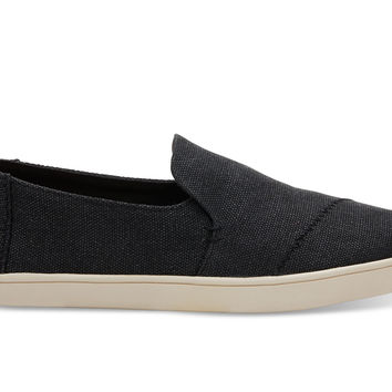 BLACK WASHED CANVAS WOMEN'S DECONSTRUCTED CUPSOLE ALPARGATAS
