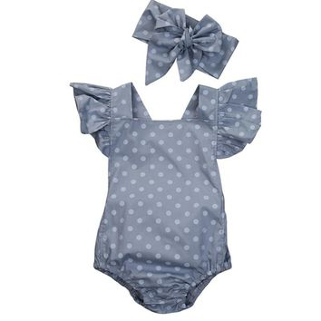 Baby Girls Clothes Sets Newborn Summer Polka Dot Romper + Headband Sleeveless Jumpsuit Baby Rompers Infant Roupas Bebe CL2022