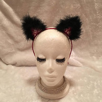 Dark Red Lace Cat Ears with Black Marabou Feathers. Burlesque Cabaret Vintage Kitten Rhinestone Ears Costume Accessory