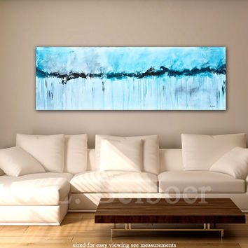 Large abstract painting original panoramic art 5 foot big white blue modern abstract painting 20x60 by L.Beiboer free shipping