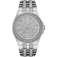 Bulova Mens Crystal Dress Watch - Stainless Steel Case - European Crystals