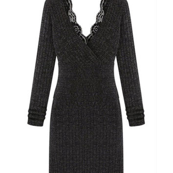 Dark Gray Lace V-neck Mini Bodycon Sweater Dress