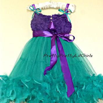 SALE MEGA SALE Girls Feather Dress, Flower Girls Dress, Purple Dress, Turquoise Dress, Pettiskirt Petti Dress, Frozen Theme