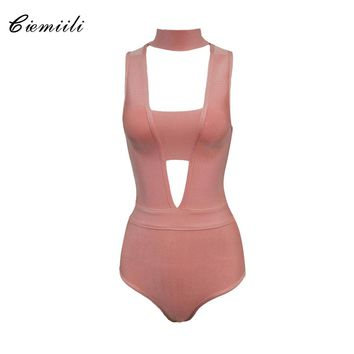 CIEMIILI 2017 Summer Celebrity Women Rayon Bandage Bodysuits Back Zipper Stand Neck Sexy Hollow Out Bodycon Rompers Dropshipping
