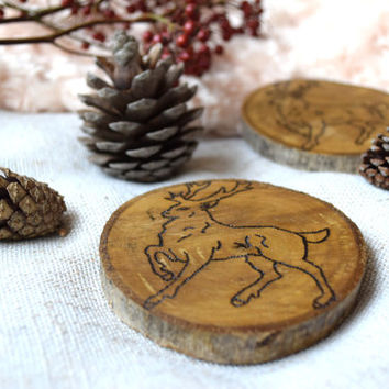 Deer wood coasters-SET of 2-Drink wooden coaster-Xmas decoration-Coaster set-decor-Fawn-woodburning-coffee cooking-Winter-Kitchen coasters