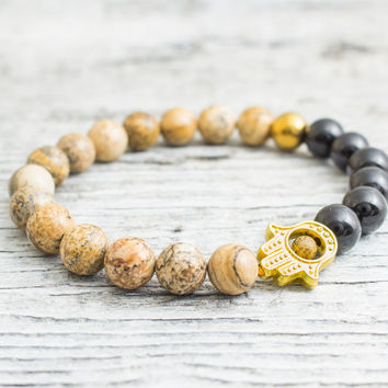 Jasper stone and black onyx beaded stretchy gold Hamsa hand bracelet, custom made yoga bracelet, mens bracelet, womens bracelet