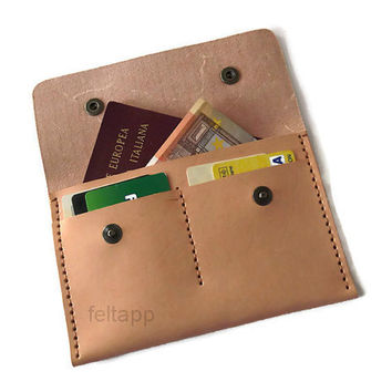 Leather Passport Case, Passport Wallet, Credit Cards Case, Passport Protector, Vegetable Tanned Italian Leather, Hand Stitched