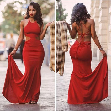Sexy Red Mermaid Prom Dresses Floor Length Cut Out Halter Sexy Evening Dresses Plus Size Formal Gowns Vestido De Festa