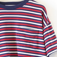 Stripe T-shirt Cropped 90s Crop Top Pocket Tee Red White Navy Blue Stripes 80s Tshirt Ringer T Shirt Loose Fit Indie Top Size Small Medium