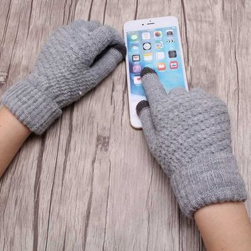 Smartphone Screen Gloves Women Girl Female Stretch Knitted Gloves Mittens Winter Thick Warm Accessories Woolen Guantes