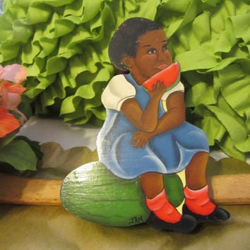 Vintage Hand Cut, Hand Painted Black Americana - Little Girl Sitting on a Watermelon  Wall Art