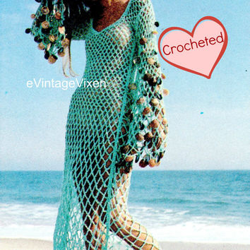 1970s Beachcomber Dress Vintage Crochet Pattern Beach Swimwear Goddess Dress Bikini CoverUp Sexy Shells Beach Wedding Dress Honeymoon Dress