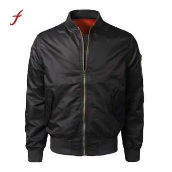 Men Solid Slim Bomber Jacket Stand Collar Zipper Spring Autumn Winter Casual Outwear bomber jackets men winter leather coat