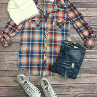 Penny Plaid Flannel Top: B.Red/Blue