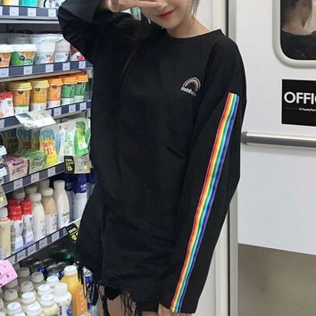 Tops and Tees T-Shirt New Winter Letters Rainbow Embroidery T Shirts Striped Long Sleeve T-shirt O-neck Women's Bottoming Tee Shirts Loose Female  AT_60_4 AT_60_4