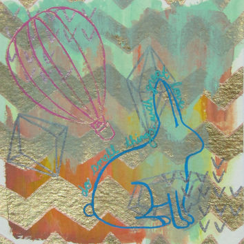 Mixed media, Drawing, Gouache, Rabbit, Air Balloon, Paper, Small, Watercolour, Metallic, Pink, Artwork, Teal, Red, Graphite, Gem, Chevron