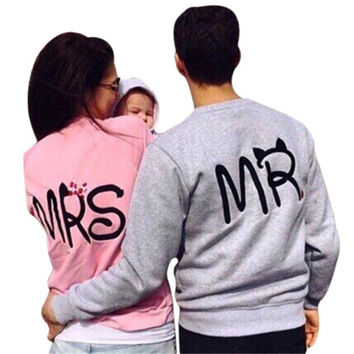 Fashion Casual MR MRS Tops Couple Sweatshirt Crew Neck Long Sleeve Pullovers Loose Tracksuit Vintage Women Men Hoodies 2016