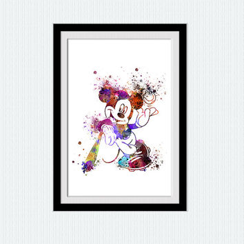 Mickey Mouse watercolor print Mickey Mouse colorful poster Disney colorful poster Home decor Kids room art  Birthday gift Nursery room W293