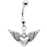 Winged Heart Stainless Steel Belly Ring | Body Candy Body Jewelry