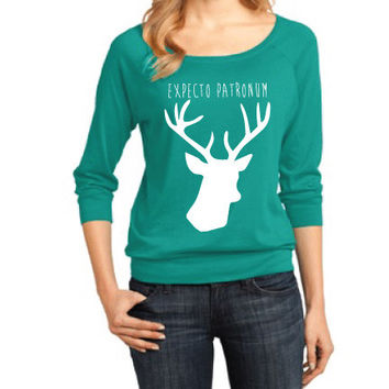 Harry Potter Inspired Clothing - Expecto Patronum Stag Raglan 3/4 Length Sleeve - Ladies