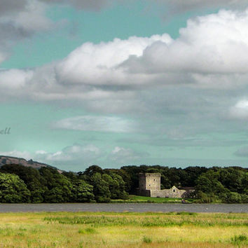 Scotland Photography, Loch Leven Castle, Landscape Print, Architectural Photograph, Historical Art, Blue, Green, Yellow, Turquoise, 8x12