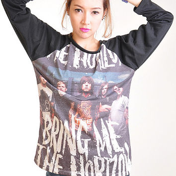 Bring ME The Horizon BMTH Punk Rock Baseball long sleeve Tee Shirt Women Girl Sz S,M,L