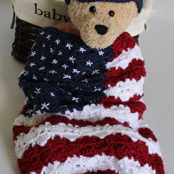 Baby Crochet Cocoon - Baby Swaddle Sack - American Flag - Red, White and Blue - 4th of July Photo Prop