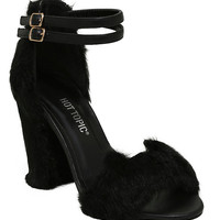Black Faux Fur Cat Cutout Ankle-Strap Heels