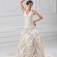 Halter Satin Ball Gown with Beaded Applique and Pick Up Skirt