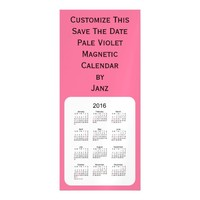 2016 Pale Violet Calendar by Janz 4x9 Magnet Magnetic Invitations