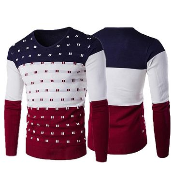 2018 Autumn Winter New Casual Sweater Men Pattern Knitted Pullovers Fashion Slim Fit Christmas Gift Male Sweater