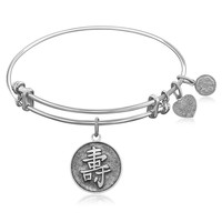 Expandable Bangle in White Tone Brass with Chinese Longevity Symbol