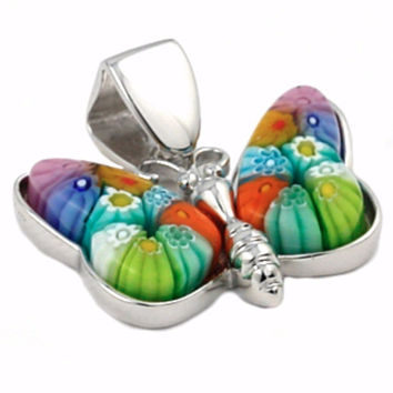 "Sterling Silver Multicolor Glass Murano Millefiori Glass Pendant Butterfly (Free 18"" Chain)"